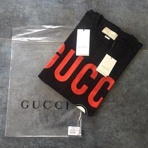 GUCCI MENS LAMB PRINTED CASUAL BLACK T-SHIRT